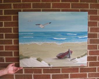 Large Seascape Old Boat Beach Painting Original Seascape Custom Seascape
