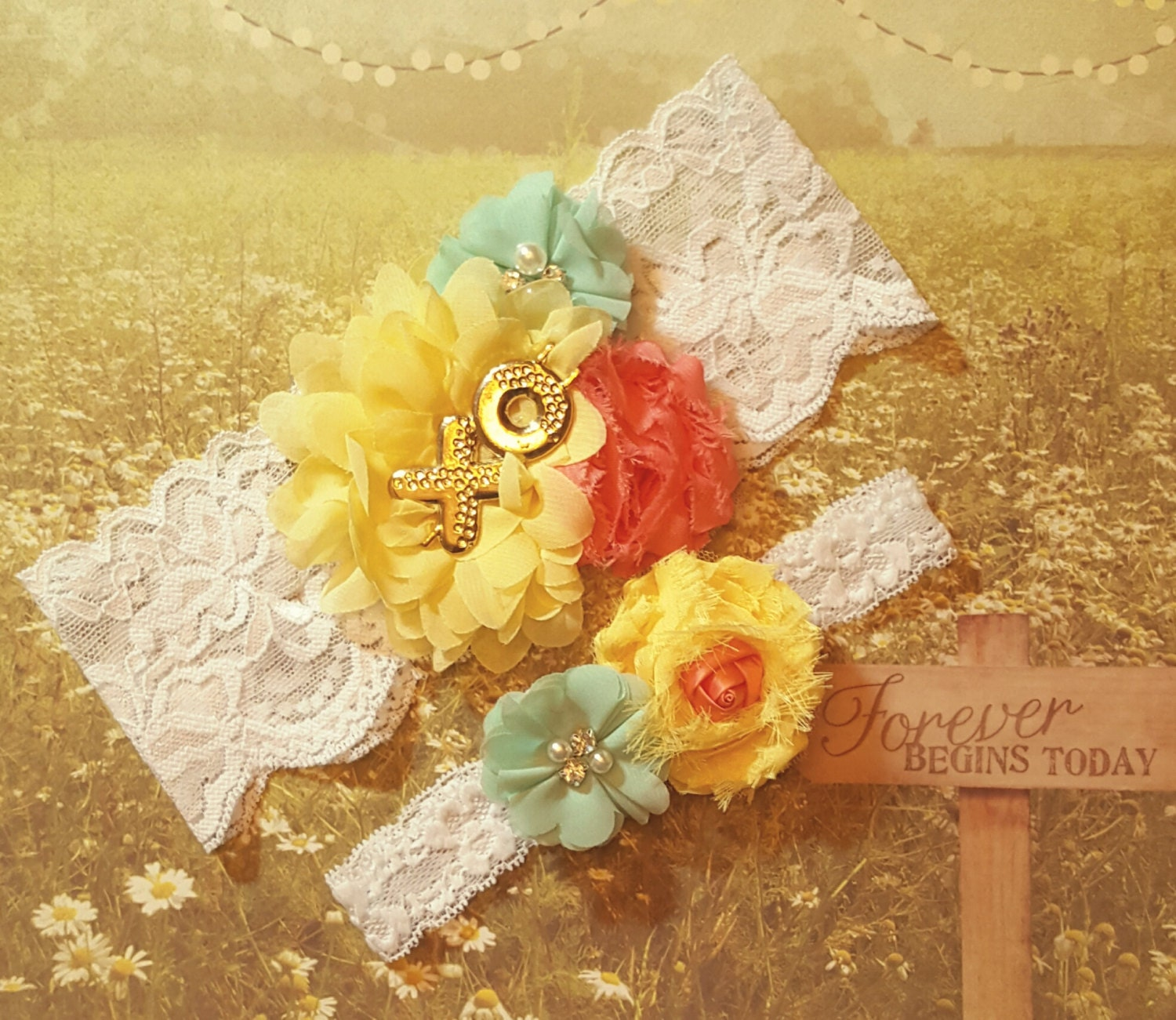 Yellow Wedding Garter SetYellow Mint And Coral Wedding