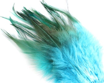 4-6 Inch Blue Rooster Tail Feathers. (10) Blue Rooster Hackle Feathers for Crafts. Feathers for Hats. Costume Feathers. Fascinator F205