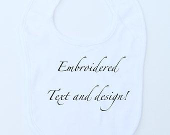 Baby Bib 100% Organic Thick and Soft Cotton White, Personalized