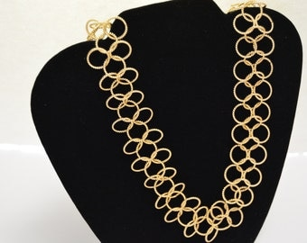 Large Chainmaille Gold Necklace 21in