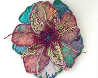 Handmade Fabric Flower Brooch - Fun Flower Accessory - Quilted Gift - Embroidered Flower Brooch - Threadpainted Flower Pin - Quilted Flower