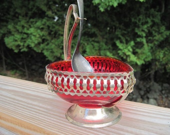 Sheffield Handmade Crystal Brama-Heart Shaped Relish Dish-Silver-plated - Item #1362