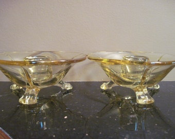 Fostoria Topaz Glass, Footed Candle Holders, Blanks - Item #1089