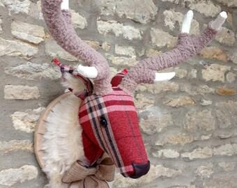 Handmade faux taxidermy Tartan Plaid Check red stag deer wall mounted animal head trophy