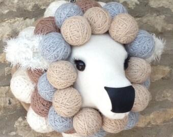 Handmade sheep head faux taxidermy fabric sheep lamb ewe wall mounted animal head trophy