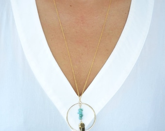 Turquoise and Disc Boho Dangling Karma Necklace - Bohemian Gypsy Necklace