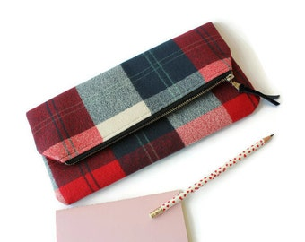 Fall or Winter Foldover Clutch / Flannel Foldover Clutch / Clutch Purse / Zippered Pouch / Waterproof Lining