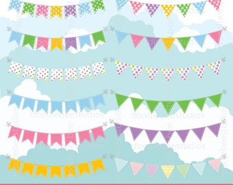 Bunting Clipart, Bunting Banners Clip Art, Bunting Flags, Buntings Clip Art, Party Clipart, Birthday Clip Art, Colourful bunting Clip Art,