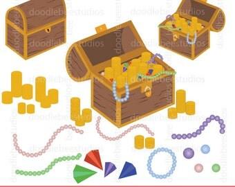 Treasure Chest Clipart, Treasure Clip Art, Diamonds, Jewels, Coins Clipart, Pearl Necklace, Pearls Clip Art, Treasure Chest Clip Art