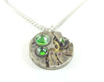 Steampunk Necklace Clockwork Jewelry With Emerald Green Crystals