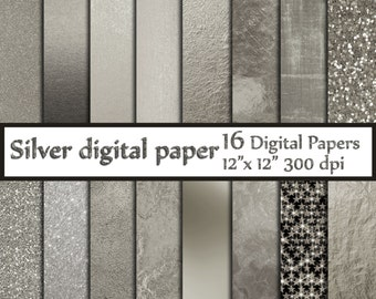 "Silver Digital Paper: ""SILVER FOIL PAPERS"" Platinum papers Metallic Silver Paper Silver Backgrounds Digital Silver Foil grey textures"