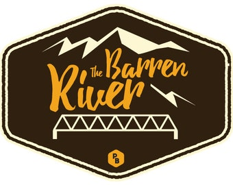 Barren River Paddle Badge Decal, Kayak Art, Canoe Decal, Adventure Stickers, Paddle Board Decal, Kentucky Stickers