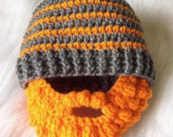 Crochet Bearded Hat- Funny Hat- Boys hat- Beard Hat