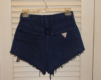 Vintage 80s High Waist Guess Jeans Cut Off Shorts Button Fly USA Made Very Short Dark Blue 26 Inch Waist  C