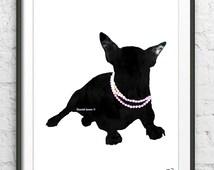 French bulldog Art print French bulldog watercolor print French bulldog poster Dog art Dog with pink beads French bulldog with jewelry print