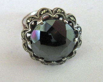 Hemetite and Marcasite Sterling Silver Ring