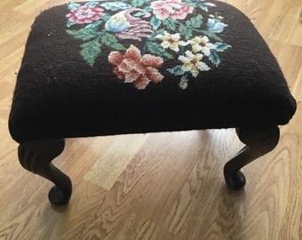 Brown Vintage Floral Foot Stool