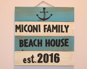 Personalized Family Beach House Sign