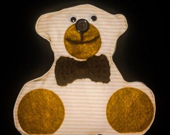 Fabric teddy bear wall art
