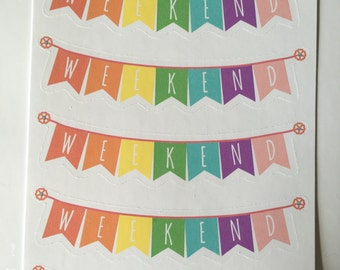 5 Pastel Rainbow Weekend Banners, Weekend Stickers, Planner stickers perfect for ECLP, Happy planner, PPP, Kikki K, Filoxafes and more!