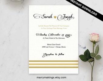 Rustic invitation, invitation suite, wedding, invitation set, diy wedding, template, invitation templates, diy invitation, modern, gold, 21