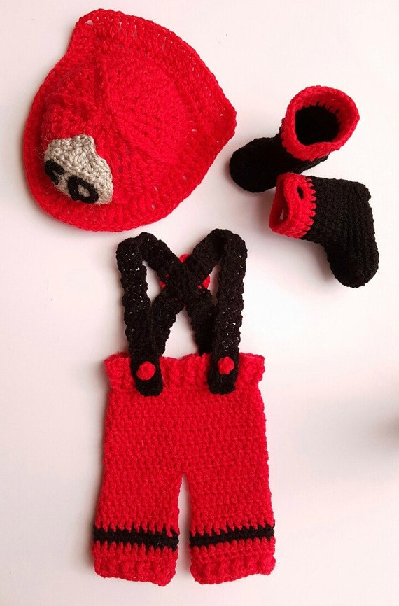 Crochet Patterns For Baby Frocks : Crochet Newborn fireman suit Crochet firefighter outfit