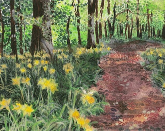 Daffodil Path, signed and framed.