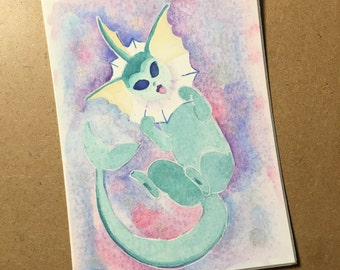 Vaporeon pokemon - watercolor original