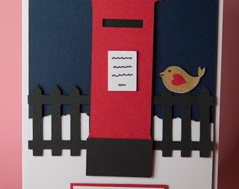 Postbox with Robin Handmade Christmas Card