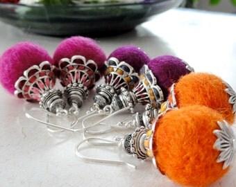 Ethnic earrings, ethique jewery, handmade felt earrings, wool earrings, wool jewelry, Yoga jewelry, nature friendly earrings, Christmas gift