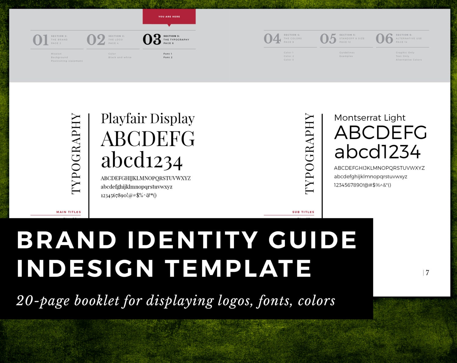 brand identity guide template for indesign cs6+ | printable basic, Presentation templates