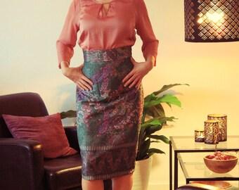 Floral Cloque Silk Skirt