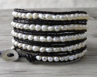 Fresh Water Pearl Bracelet beaded bracelet real pearl bracelet Boho pearl wrap bracelet Gypsy wrap bracelet Christmas gift SL-0089
