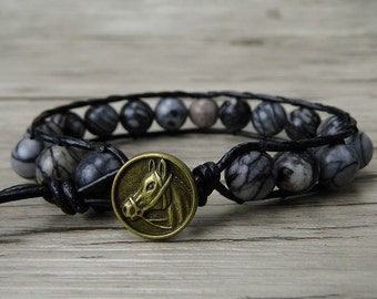 Boho wrap bracelet mens wrap bracelet boho bead bracelet grey jasper beaded bracelet yoga bracelet horse charm bracelet bead jewelry SL-0204