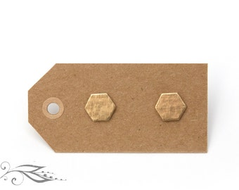 Structured Hexagon - hand-soldered Stud Earrings 8 mm made of brass and stainless steel