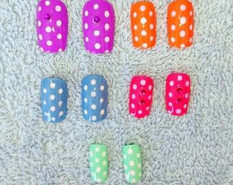 polka dot colourful false nails