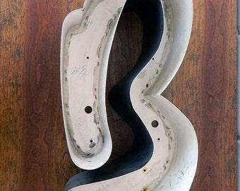Reclaimed Metal Letter from Sign / Letter B / Salvaged Marquee Letter / Industrial B letter