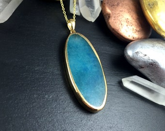Gold Wrapped Blue Agate Slice Pendant Necklace