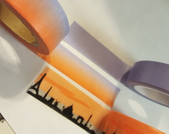 3 Pack Washi Tape, voliet, half voliet and orange, and orange sky with black city Washi Tape