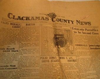 Antique Clackamas County Newspaper, Oregon, 1948, vintage