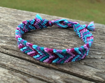 Blue and Purple 5-Strand Chevron Bracelet
