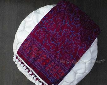 Mandala sarong with pom-poms, lightweight wrap, shawl, beach wrap, beach throw