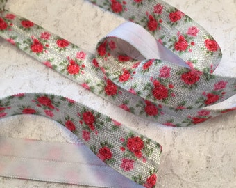 Rose Floral Headband Elastic/FOE Elastic/Rose Baby Headband Elastic/Floral ELastic by the Yard/Printed Elastic