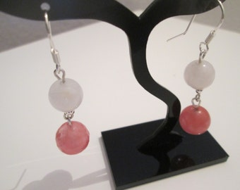 Sterling Silver 925 with watermelon tourmaline and rock crystal earrings
