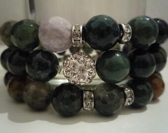 Set 3 Indian agate bracelets