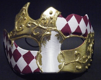 Male Venetian Wedding Masquerade Mask, Mardi Gras Masquerade Mask,  Gold Leaf
