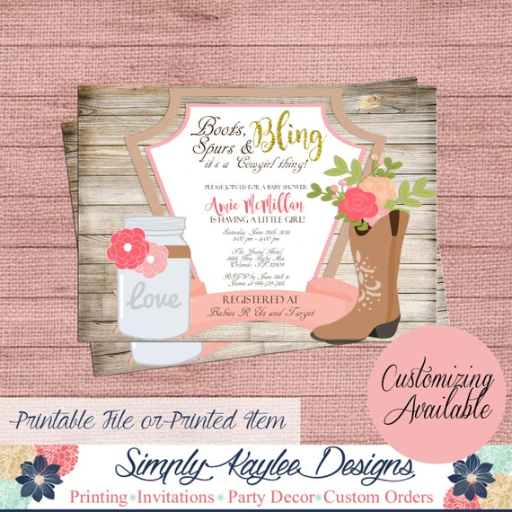 cowgirl baby shower invitation rustic baby shower invitation