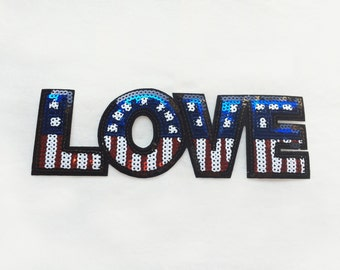 1x large sequins american LOVE flag patch - Iron On  embroidered Applique - heart patriotic blue red white stars July 4th - diy project