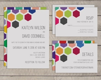 Printable Wedding Invitation Suite – The Bold Mosaic Collection - Choice of Color Palette - Full Set with RSVP